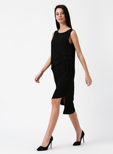 Random Kolsuz Midi Elbise Siyah